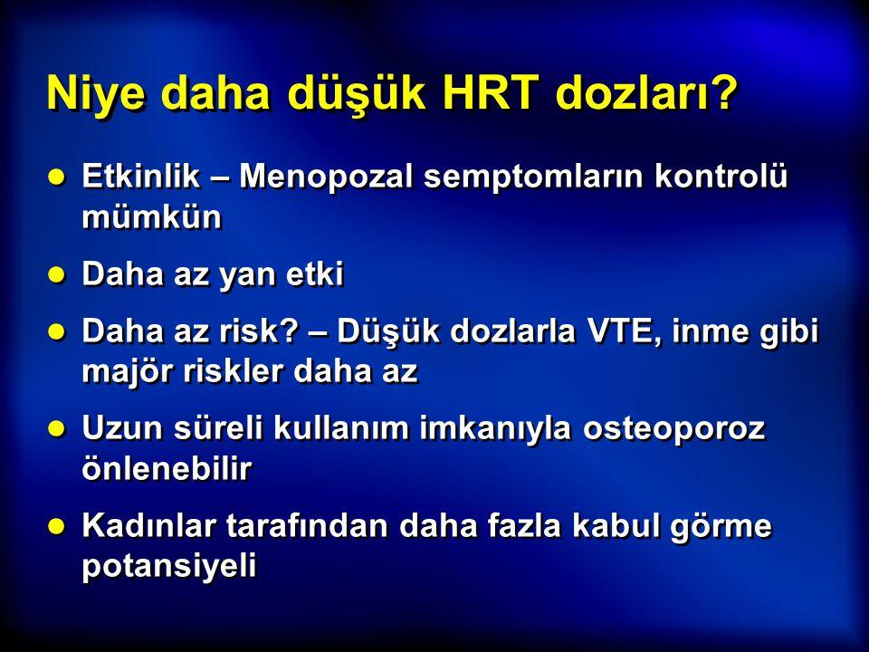 Niye daha düşük HRT dozları? ● Etkinlik – Menopozal semptomların kontrolü mümkün ● Daha az yan etki ● Daha az risk? – Düşük dozlarla VTE, inme gibi ma