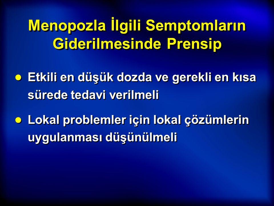 Menopozla İlgili Semptomların Giderilmesinde Prensip ● Etkili en düşük dozda ve gerekli en kısa sürede tedavi verilmeli ● Lokal problemler için lokal
