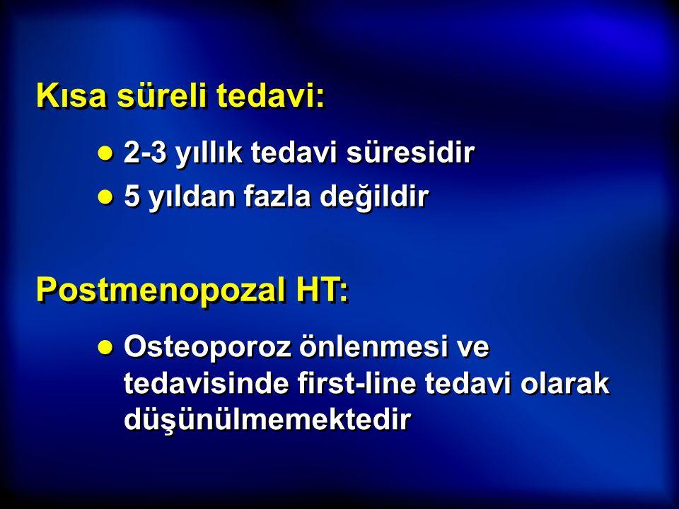 Kısa süreli tedavi: ● 2-3 yıllık tedavi süresidir ● 5 yıldan fazla değildir ● 2-3 yıllık tedavi süresidir ● 5 yıldan fazla değildir Postmenopozal HT: