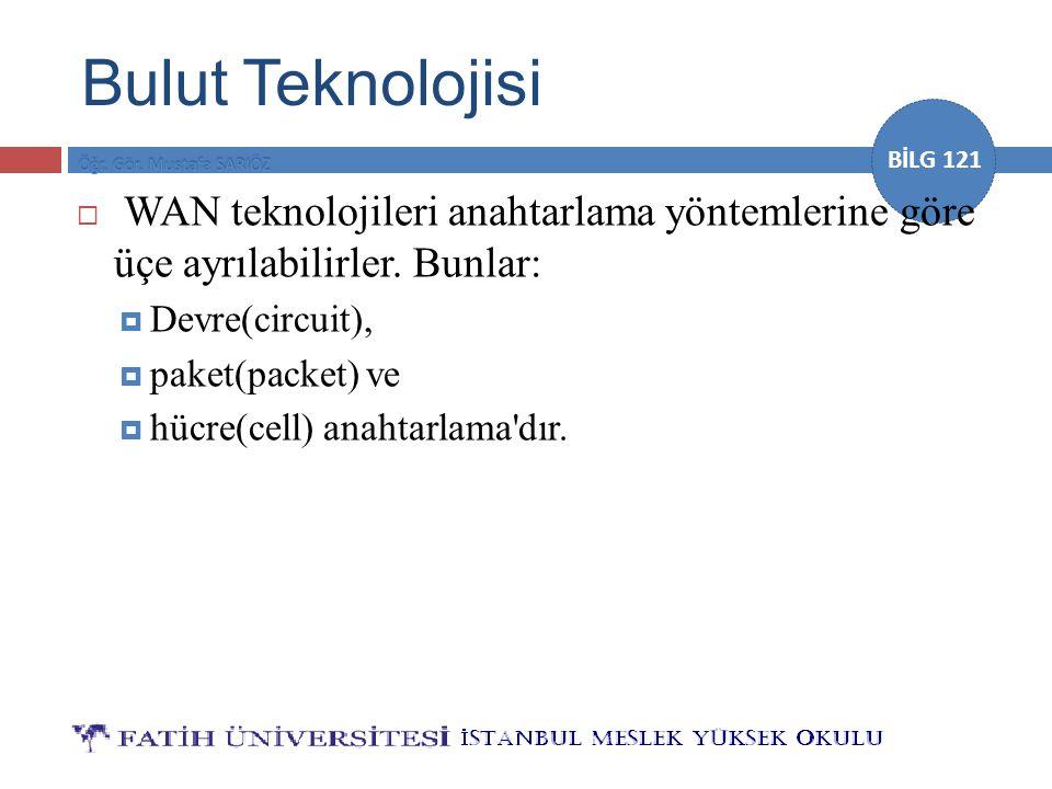 BİLG 121 Bulut Teknolojisi  WAN teknolojileri anahtarlama yöntemlerine göre üçe ayrılabilirler. Bunlar:  Devre(circuit),  paket(packet) ve  hücre(