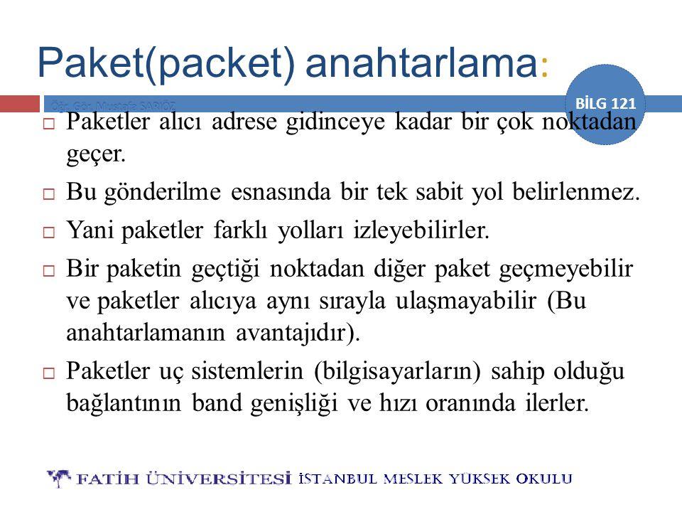 BİLG 121 Paket(packet) anahtarlama :  Paketler alıcı adrese gidinceye kadar bir çok noktadan geçer.  Bu gönderilme esnasında bir tek sabit yol belir