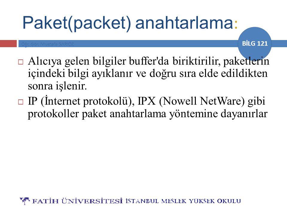 BİLG 121 Paket(packet) anahtarlama :  Alıcıya gelen bilgiler buffer'da biriktirilir, paketlerin içindeki bilgi ayıklanır ve doğru sıra elde edildikte
