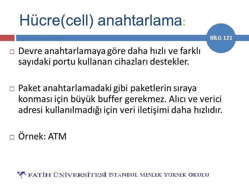 BİLG 121 Hücre(cell) anahtarlama :  Devre anahtarlamaya göre daha hızlı ve farklı sayıdaki portu kullanan cihazları destekler.  Paket anahtarlamadak