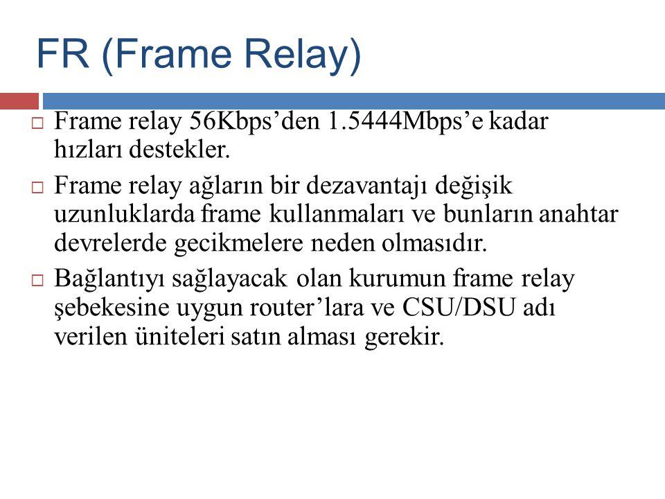 FR (Frame Relay)  Frame relay 56Kbps'den 1.5444Mbps'e kadar hızları destekler.  Frame relay ağların bir dezavantajı değişik uzunluklarda frame kulla