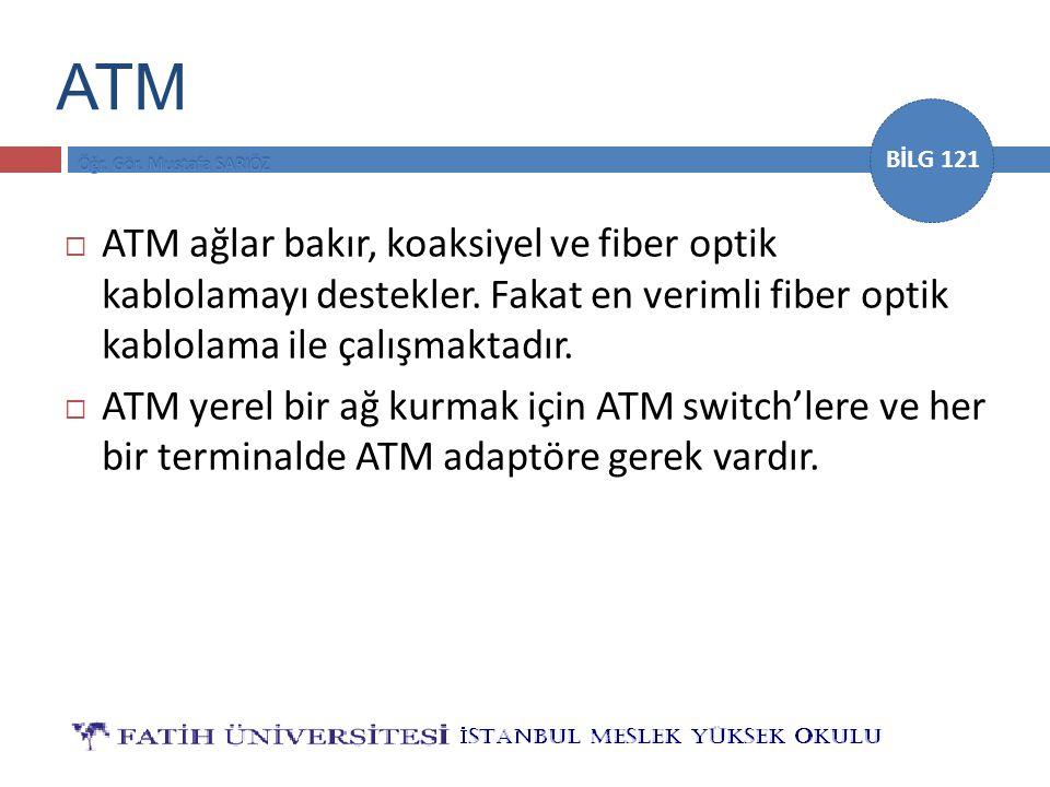 BİLG 121 ATM  ATM ağlar bakır, koaksiyel ve fiber optik kablolamayı destekler. Fakat en verimli fiber optik kablolama ile çalışmaktadır.  ATM yerel