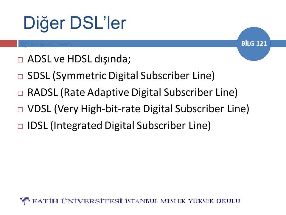 BİLG 121 Diğer DSL'ler  ADSL ve HDSL dışında;  SDSL (Symmetric Digital Subscriber Line)  RADSL (Rate Adaptive Digital Subscriber Line)  VDSL (Very