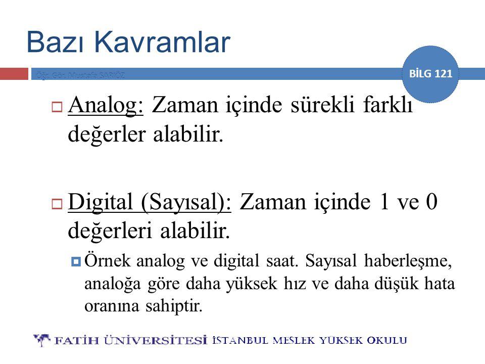 BİLG 121 Bazı Kavramlar  Analog: Zaman içinde sürekli farklı değerler alabilir.  Digital (Sayısal): Zaman içinde 1 ve 0 değerleri alabilir.  Örnek