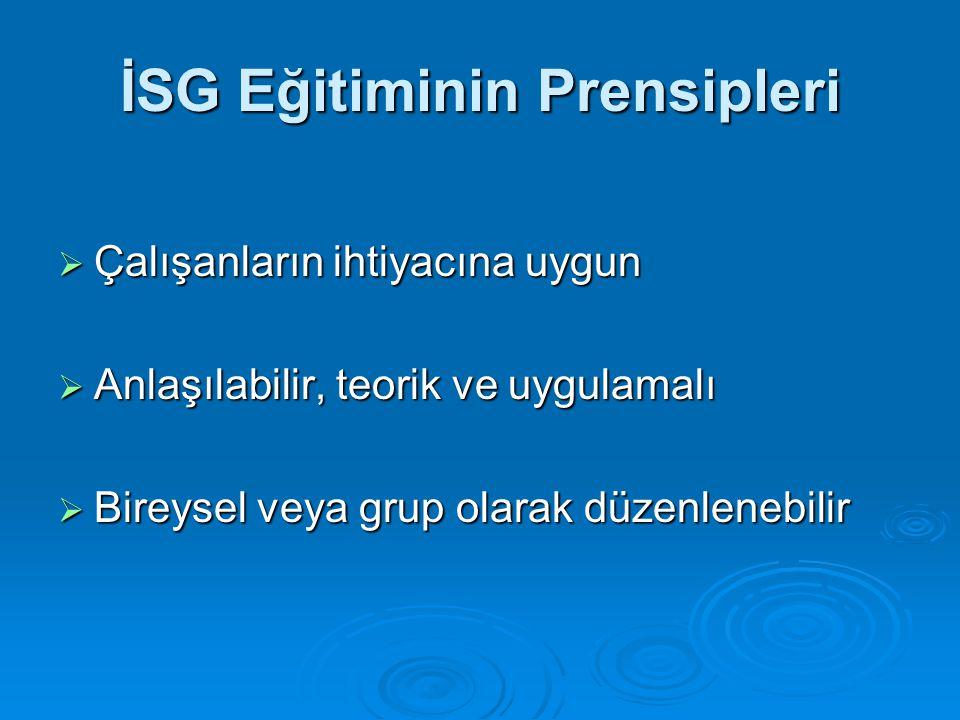 İSG Eğitiminin Prensipleri  Çalışanların ihtiyacına uygun  Anlaşılabilir, teorik ve uygulamalı  Bireysel veya grup olarak düzenlenebilir