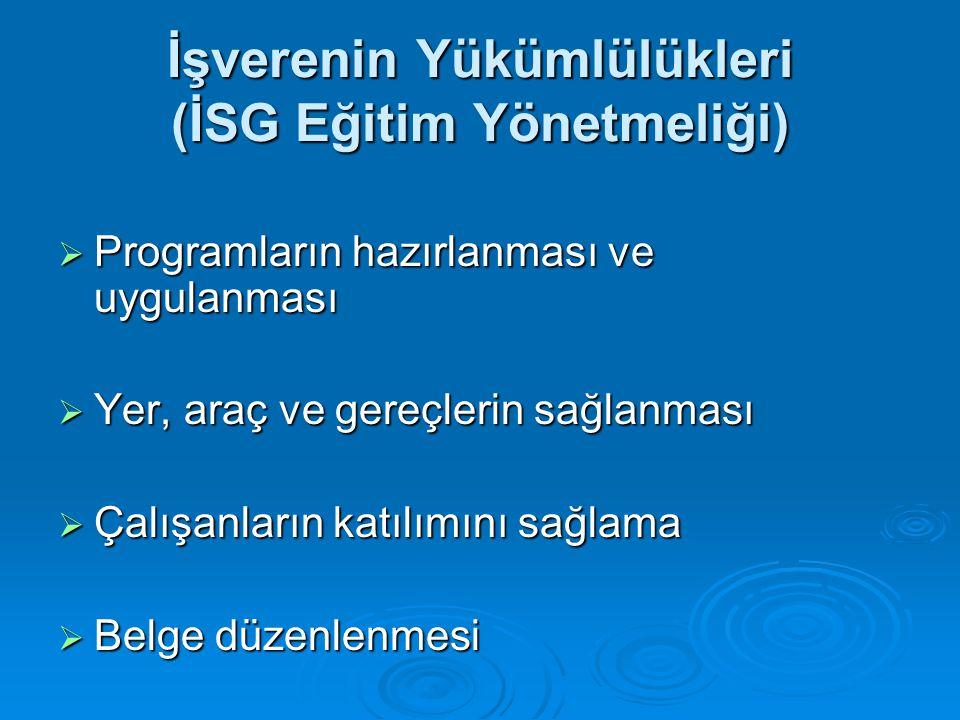 İşverenin Yükümlülükleri (İSG Eğitim Yönetmeliği)  Programların hazırlanması ve uygulanması  Yer, araç ve gereçlerin sağlanması  Çalışanların katıl