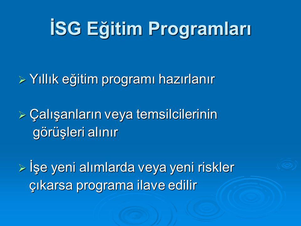 İSG Eğitim Programları  Yıllık eğitim programı hazırlanır  Çalışanların veya temsilcilerinin görüşleri alınır görüşleri alınır  İşe yeni alımlarda veya yeni riskler çıkarsa programa ilave edilir çıkarsa programa ilave edilir