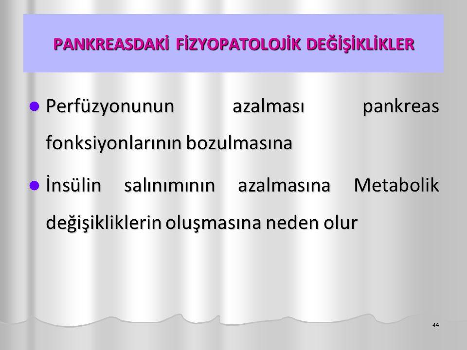PANKREASDAKİ FİZYOPATOLOJİK DEĞİŞİKLİKLER Perfüzyonunun azalması pankreas fonksiyonlarının bozulmasına Perfüzyonunun azalması pankreas fonksiyonlarını