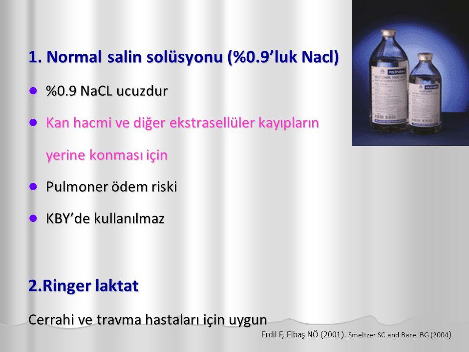 1. Normal salin solüsyonu (%0.9'luk Nacl) %0.9 NaCL ucuzdur %0.9 NaCL ucuzdur Kan hacmi ve diğer ekstrasellüler kayıpların Kan hacmi ve diğer ekstrase