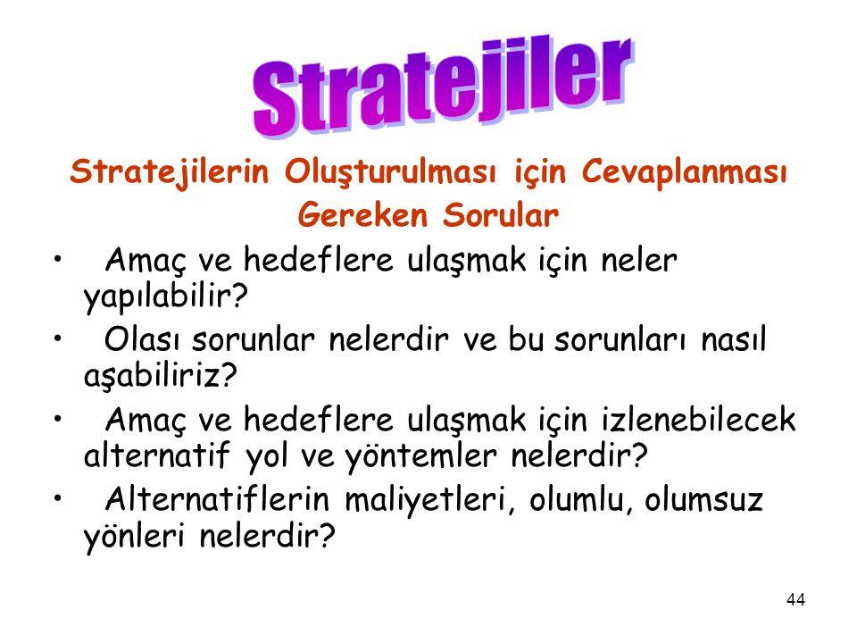 44 Stratejilerin Oluşturulması için Cevaplanması Gereken Sorular Amaç ve hedeflere ulaşmak için neler yapılabilir.