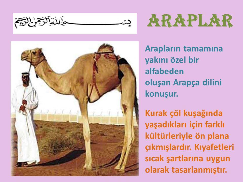 Arapların tamamına yakını özel bir alfabeden oluşan Arapça dilini konuşur. Kurak çöl kuşağında yaşadıkları için farklı kültürleriyle ön plana çıkmışla