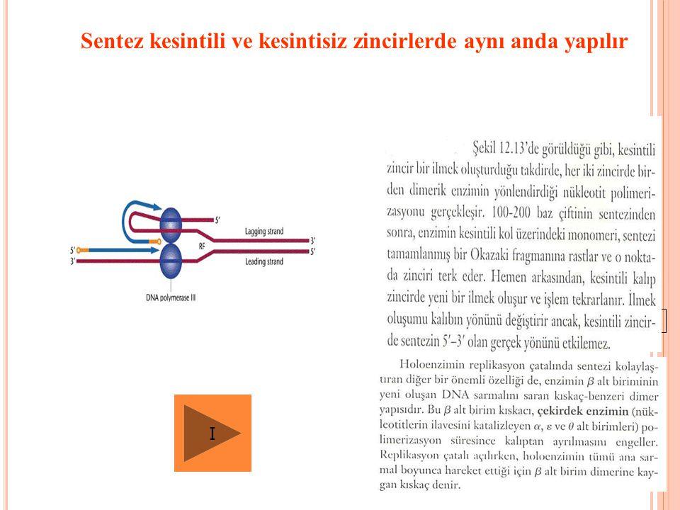 Sentez kesintili ve kesintisiz zincirlerde aynı anda yapılır Fig. 12.13 I