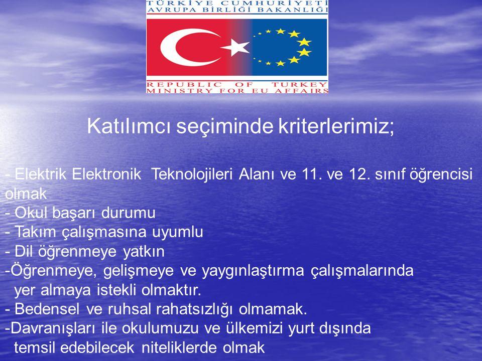 Katılımcı seçiminde kriterlerimiz; - Elektrik Elektronik Teknolojileri Alanı ve 11.