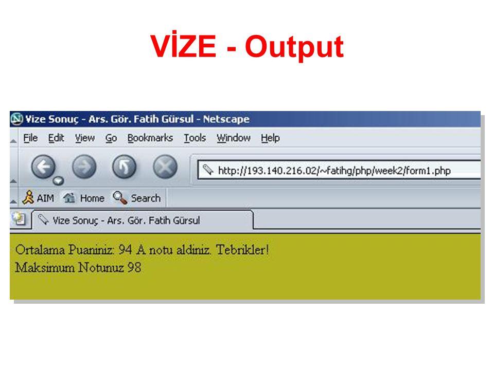 VİZE - Output