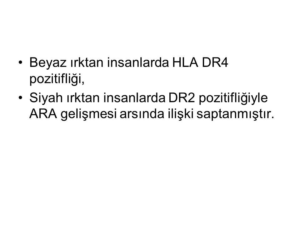 Beyaz ırktan insanlarda HLA DR4 pozitifliği, Siyah ırktan insanlarda DR2 pozitifliğiyle ARA gelişmesi arsında ilişki saptanmıştır.