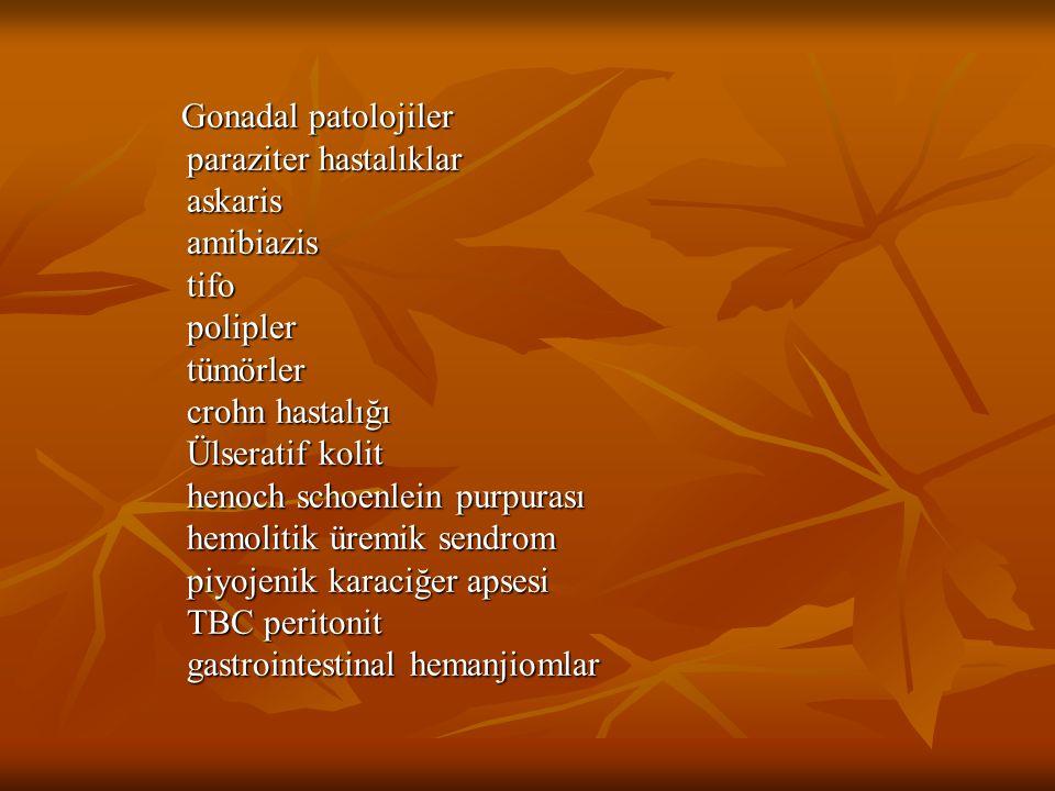 Gonadal patolojiler Gonadal patolojiler paraziter hastalıklar paraziter hastalıklar askaris askaris amibiazis amibiazis tifo tifo polipler polipler tü