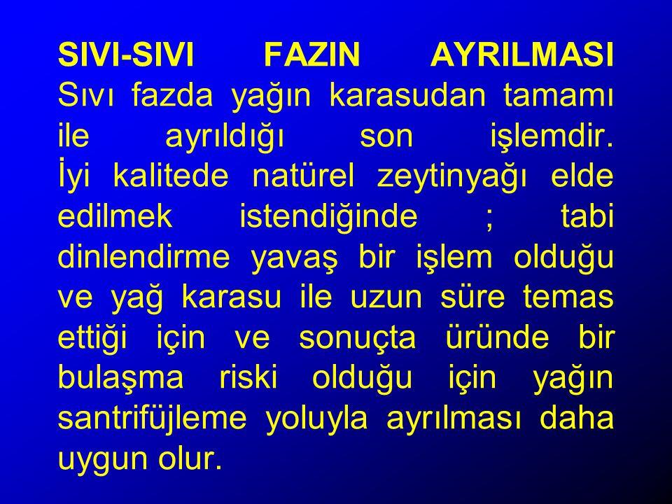 SIVI-SIVI FAZIN AYRILMASI Sıvı fazda yağın karasudan tamamı ile ayrıldığı son işlemdir.