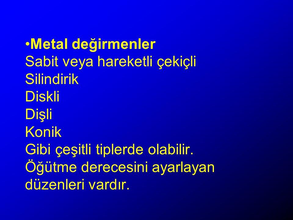 Metal değirmenler Sabit veya hareketli çekiçli Silindirik Diskli Dişli Konik Gibi çeşitli tiplerde olabilir.