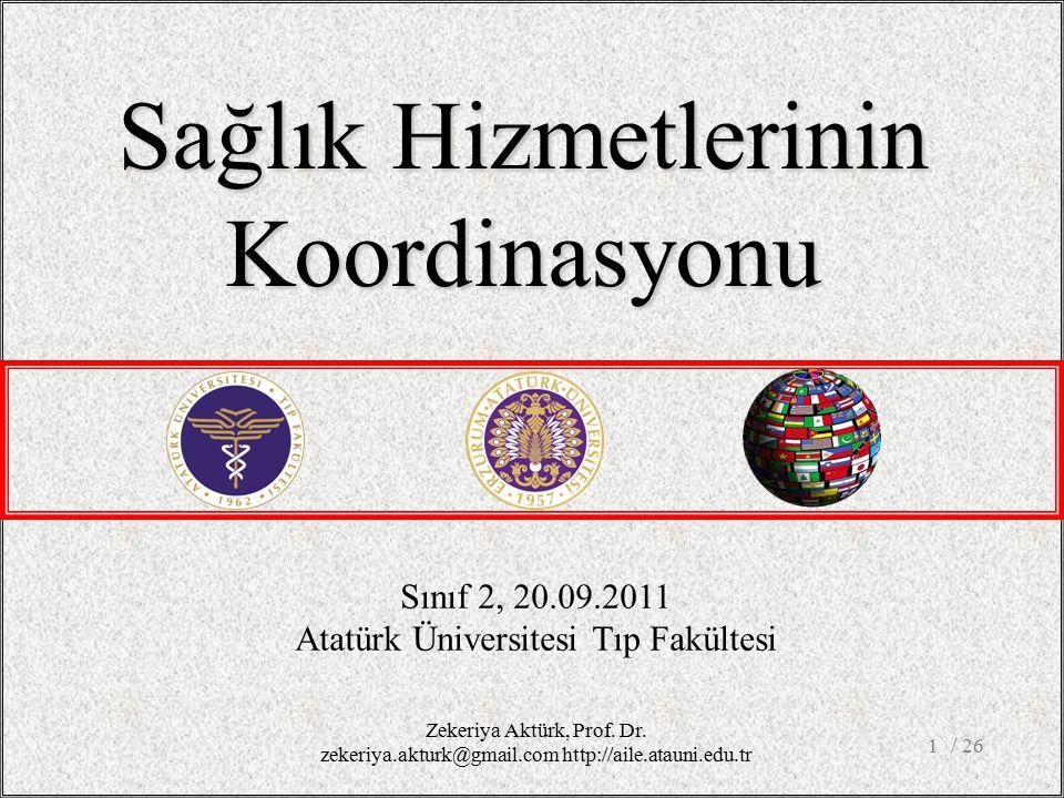 / 261 Sınıf 2, 20.09.2011 Atatürk Üniversitesi Tıp Fakültesi Sağlık Hizmetlerinin Koordinasyonu Zekeriya Aktürk, Prof.