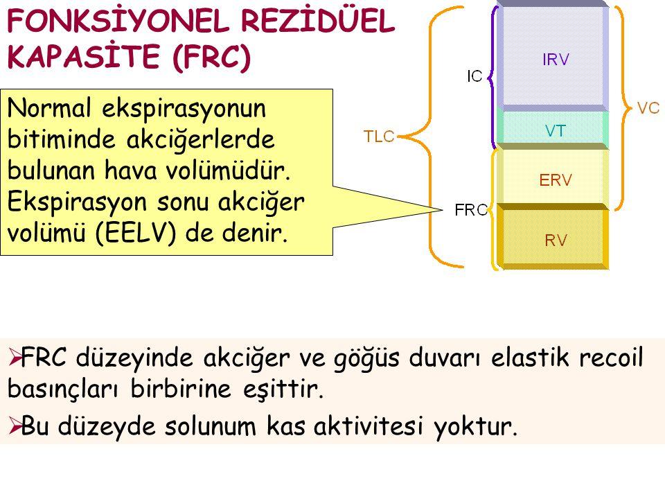  FRC düzeyinde akciğer ve göğüs duvarı elastik recoil basınçları birbirine eşittir.  Bu düzeyde solunum kas aktivitesi yoktur. FONKSİYONEL REZİDÜEL