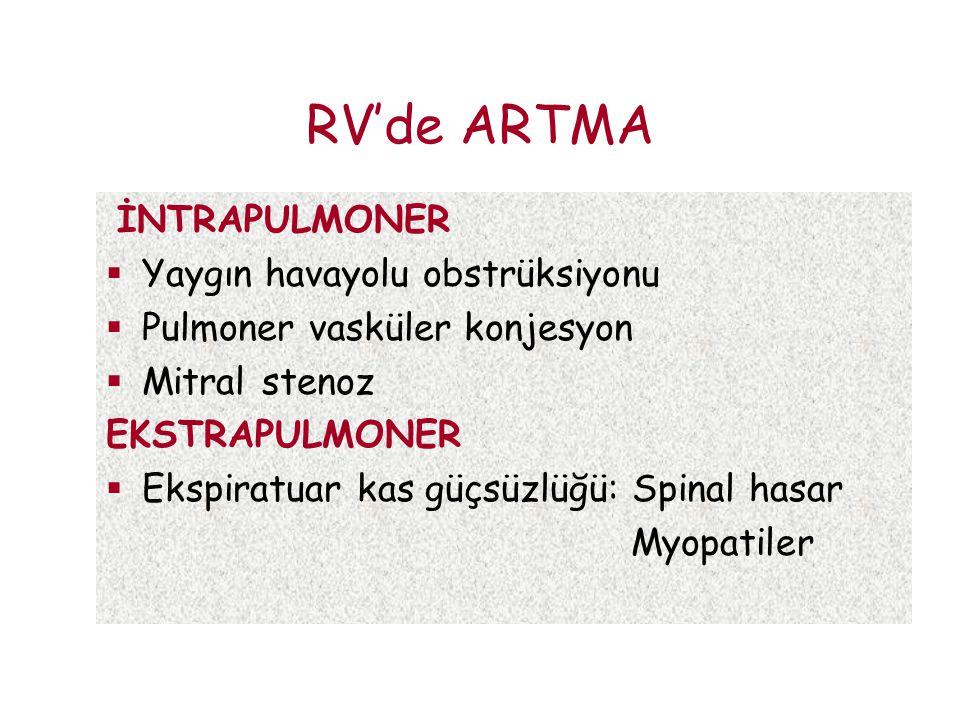 RV'de ARTMA İNTRAPULMONER  Yaygın havayolu obstrüksiyonu  Pulmoner vasküler konjesyon  Mitral stenoz EKSTRAPULMONER  Ekspiratuar kas güçsüzlüğü: S