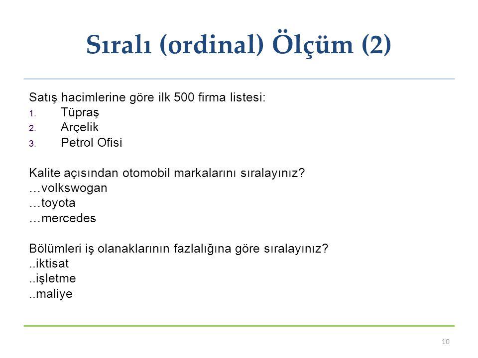 Sıralı (ordinal) Ölçüm (2) 10 Satış hacimlerine göre ilk 500 firma listesi: 1. Tüpraş 2. Arçelik 3. Petrol Ofisi Kalite açısından otomobil markalarını