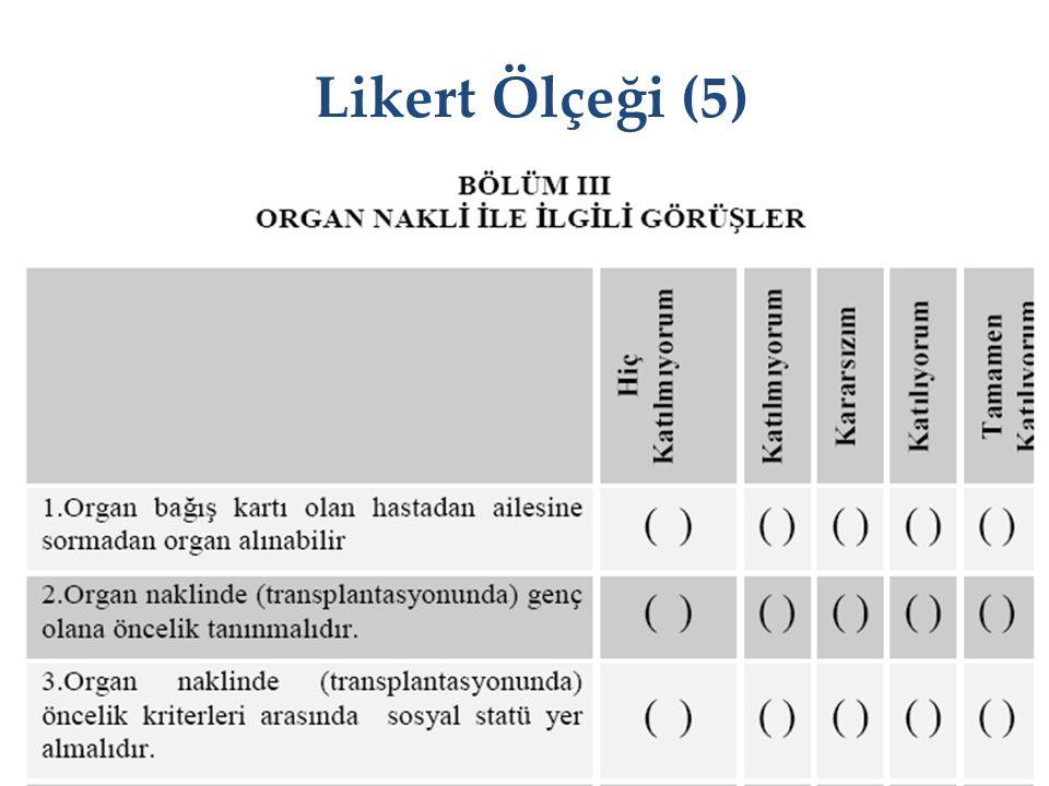 Likert Ölçeği (5) KBUZEM Karabük Üniversitesi Uzaktan Eğitim Uygulama ve Araştırma Merkezi 33