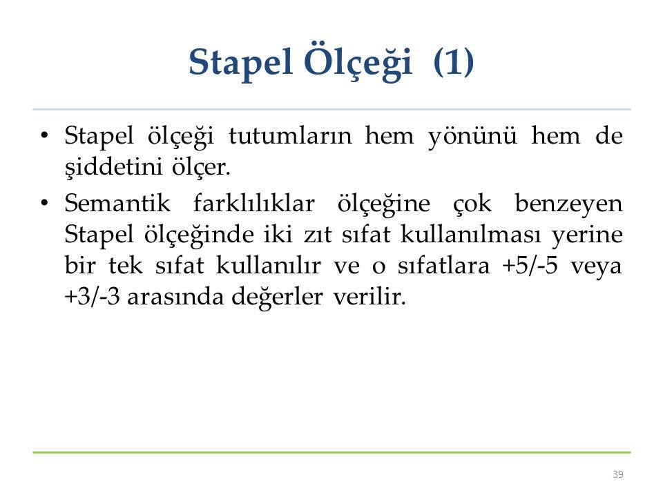 Stapel Ölçeği (1) Stapel ölçeği tutumların hem yönünü hem de şiddetini ölçer. Semantik farklılıklar ölçeğine çok benzeyen Stapel ölçeğinde iki zıt sıf