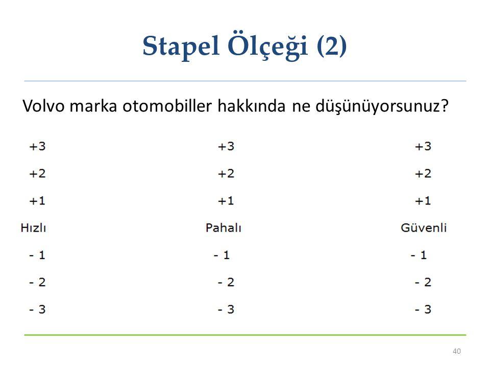 Stapel Ölçeği (2) 40 Volvo marka otomobiller hakkında ne düşünüyorsunuz?