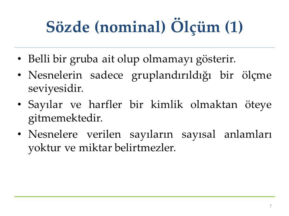 Sözde (nominal) Ölçüm (2) cinsiyet (kadın-erkek), medeni hal (evli-bekar-boşanmış), göz rengi (mavi-yeşil-ela) Okuduğu fakülte (İİBF, İşletme, Fen, Edebiyat) Meslekler (avukat, öğretmen, polis) Sporcu forma numaraları 8