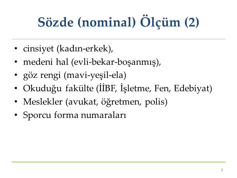 Sözde (nominal) Ölçüm (2) cinsiyet (kadın-erkek), medeni hal (evli-bekar-boşanmış), göz rengi (mavi-yeşil-ela) Okuduğu fakülte (İİBF, İşletme, Fen, Ed