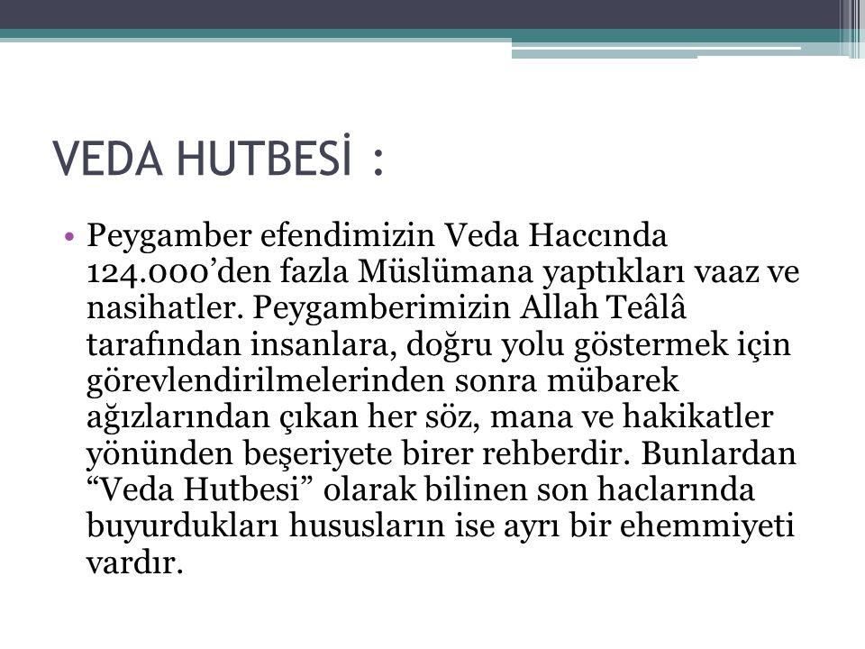 VEDA HUTBESİ : Peygamber efendimizin Veda Haccında 124.000'den fazla Müslümana yaptıkları vaaz ve nasihatler.