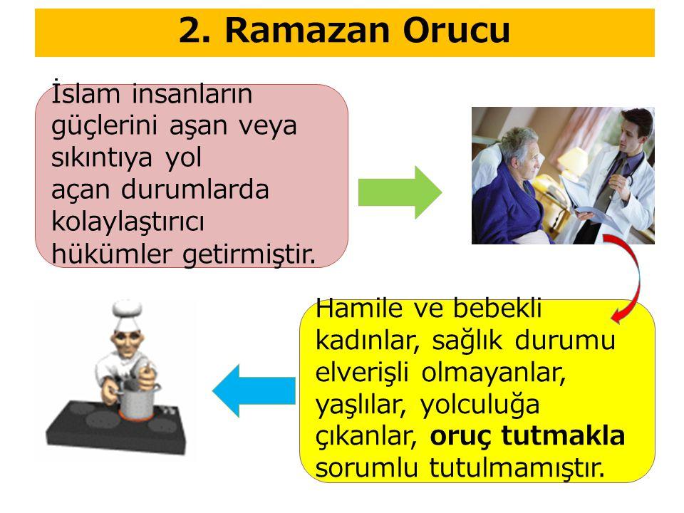 2. Ramazan Orucu Hamile ve bebekli kadınlar, sağlık durumu elverişli olmayanlar, yaşlılar, yolculuğa çıkanlar, oruç tutmakla sorumlu tutulmamıştır. İs