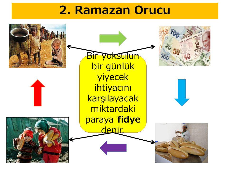 2. Ramazan Orucu Bir yoksulun bir günlük yiyecek ihtiyacını karşılayacak miktardaki paraya fidye denir.