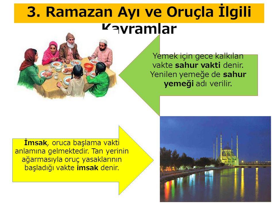 3. Ramazan Ayı ve Oruçla İlgili Kavramlar Yemek için gece kalkılan vakte sahur vakti denir. Yenilen yemeğe de sahur yemeği adı verilir. İmsak, oruca b