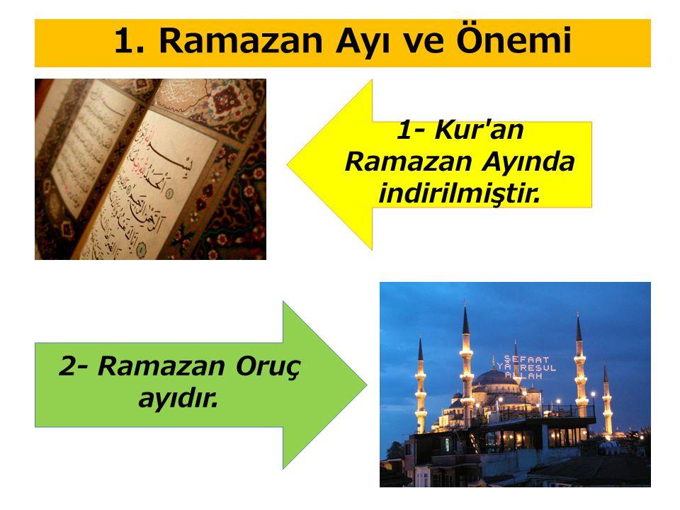 1. Ramazan Ayı ve Önemi 1- Kur an Ramazan Ayında indirilmiştir. 2- Ramazan Oruç ayıdır.