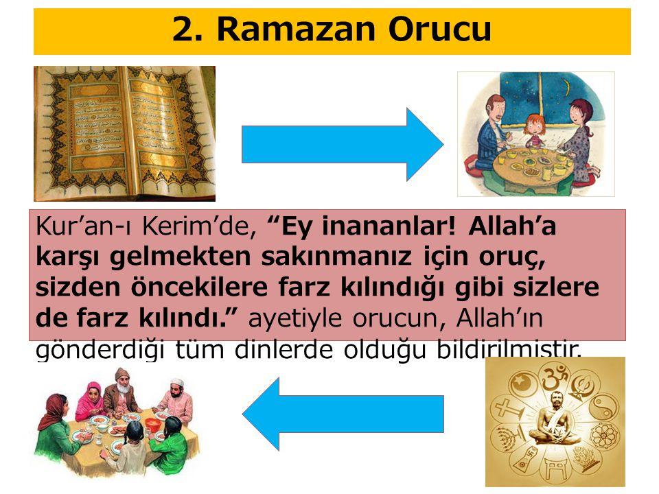 """Kur'an-ı Kerim'de, """"Ey inananlar! Allah'a karşı gelmekten sakınmanız için oruç, sizden öncekilere farz kılındığı gibi sizlere de farz kılındı."""" ayetiy"""