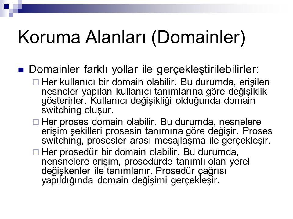 Koruma Alanları (Domainler) Domainler farklı yollar ile gerçekleştirilebilirler:  Her kullanıcı bir domain olabilir. Bu durumda, erişilen nesneler ya
