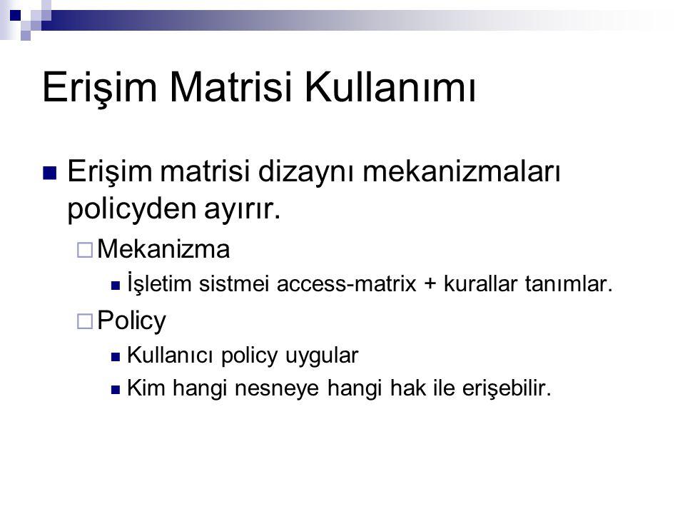 Erişim Matrisi Kullanımı Erişim matrisi dizaynı mekanizmaları policyden ayırır.  Mekanizma İşletim sistmei access-matrix + kurallar tanımlar.  Polic