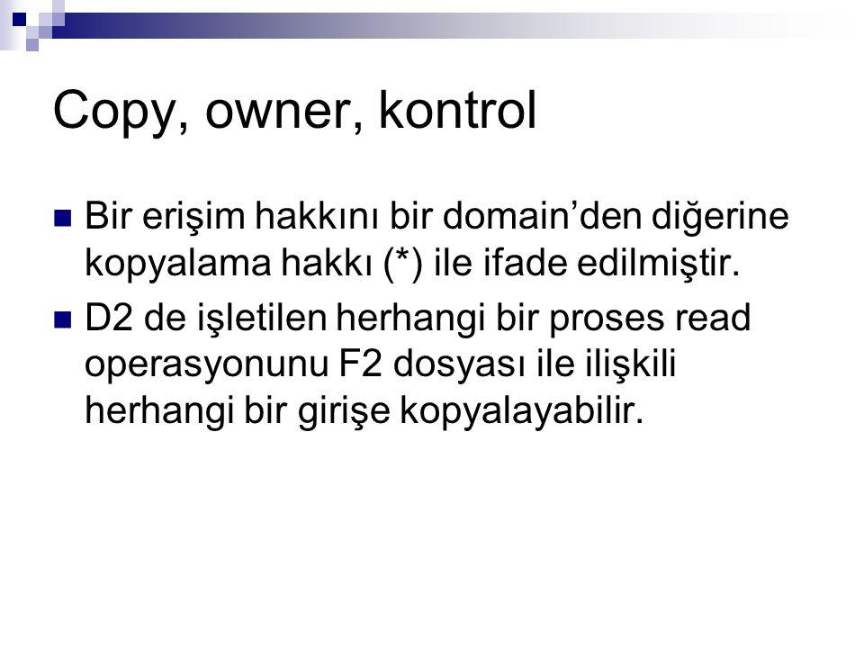 Copy, owner, kontrol Bir erişim hakkını bir domain'den diğerine kopyalama hakkı (*) ile ifade edilmiştir. D2 de işletilen herhangi bir proses read ope