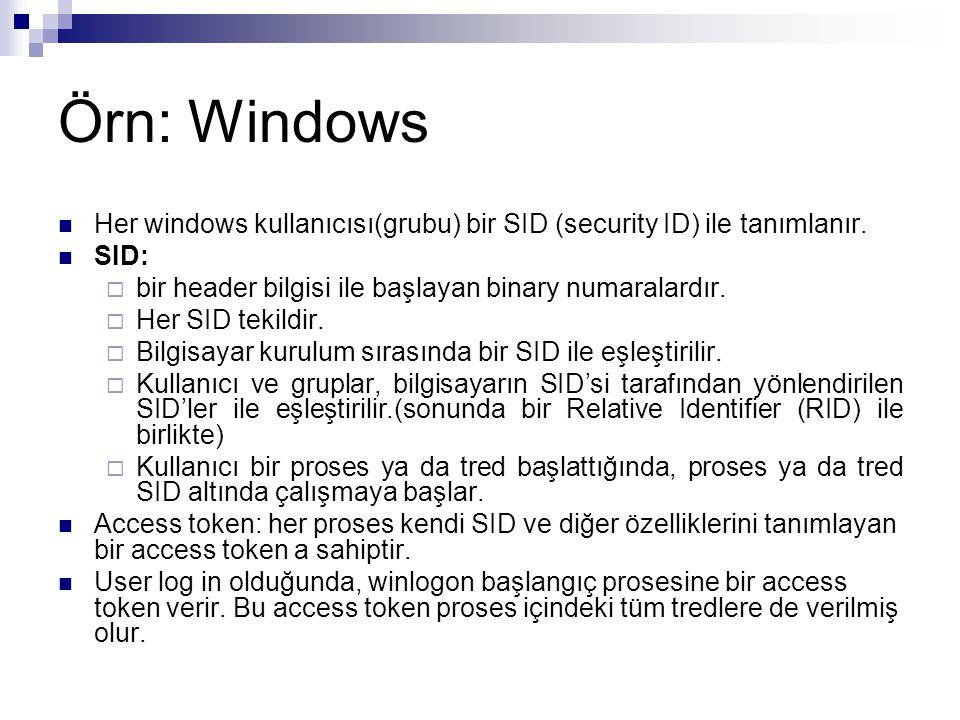 Örn: Windows Her windows kullanıcısı(grubu) bir SID (security ID) ile tanımlanır. SID:  bir header bilgisi ile başlayan binary numaralardır.  Her SI