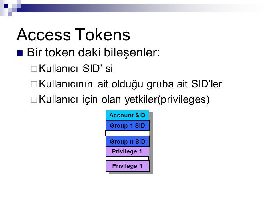 Access Tokens Bir token daki bileşenler:  Kullanıcı SID' si  Kullanıcının ait olduğu gruba ait SID'ler  Kullanıcı için olan yetkiler(privileges) Group 1 SID Group n SID Privilege 1 Account SID