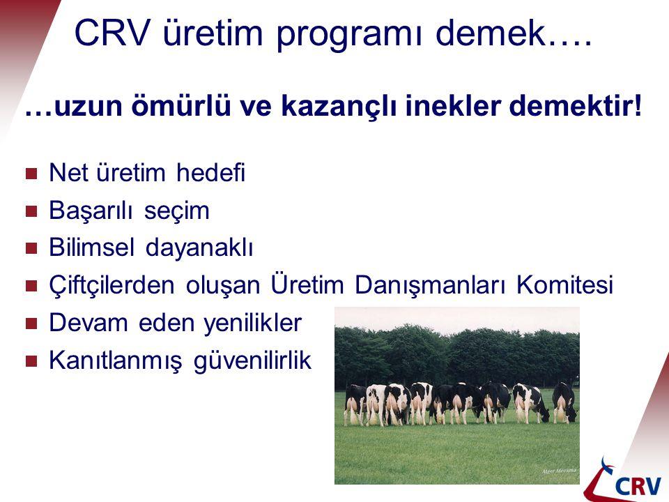 CRV üretim programı demek….…uzun ömürlü ve kazançlı inekler demektir.