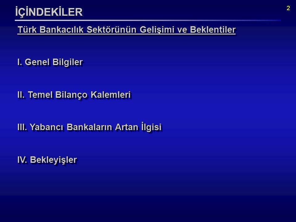 2 İÇİNDEKİLER Türk Bankacılık Sektörünün Gelişimi ve Beklentiler I.