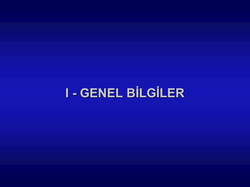 I - GENEL BİLGİLER