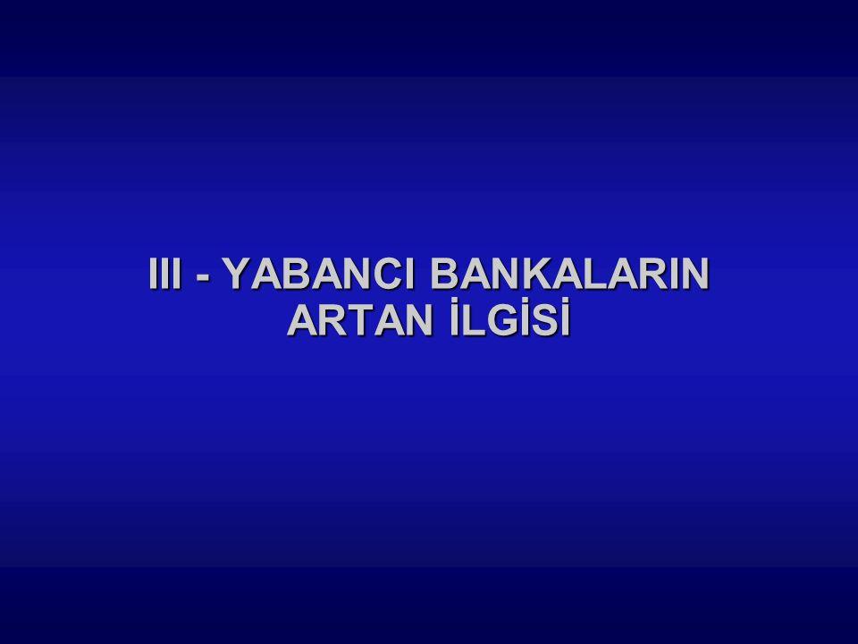 III - YABANCI BANKALARIN ARTAN İLGİSİ