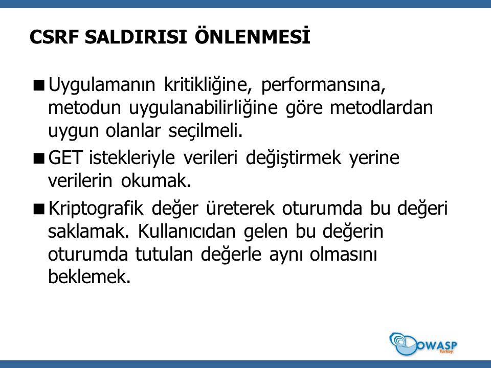 CSRF SALDIRISI ÖNLENMESİ  Uygulamanın kritikliğine, performansına, metodun uygulanabilirliğine göre metodlardan uygun olanlar seçilmeli.